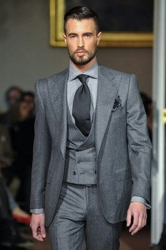 How to wear: black pocket square, black tie, grey dress pants, grey three piece suit