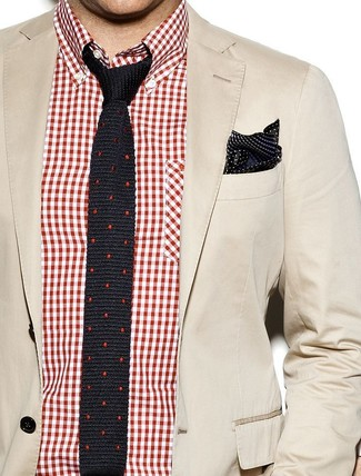 How to wear: black and white polka dot silk pocket square, black polka dot silk tie, red and white gingham long sleeve shirt, beige cotton blazer