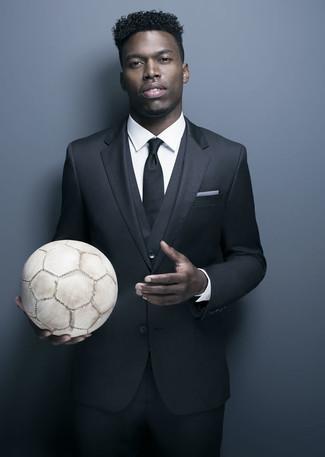 How to wear: white pocket square, black tie, white dress shirt, black three piece suit