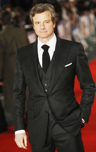 How to wear: white pocket square, black knit tie, white dress shirt, black three piece suit