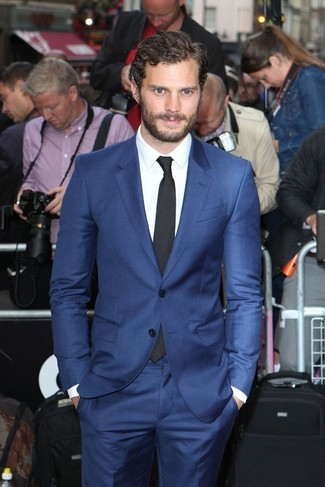 How to wear: black tie, white dress shirt, blue suit