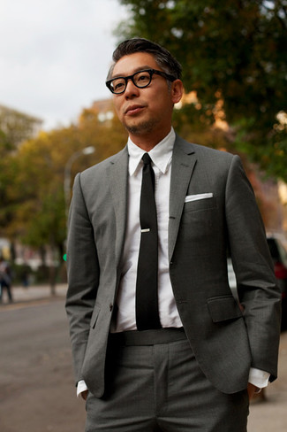 How to wear: white pocket square, black tie, white dress shirt, charcoal suit