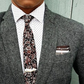 How to wear: white and brown pocket square, black floral tie, white polka dot dress shirt, grey wool blazer