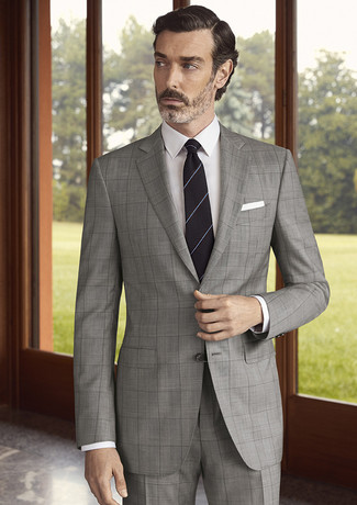 How to wear: white pocket square, black horizontal striped tie, white dress shirt, grey check suit