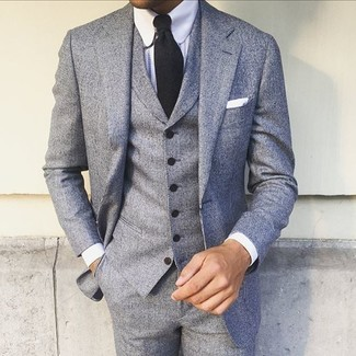 How to wear: white pocket square, black tie, white dress shirt, grey three piece suit