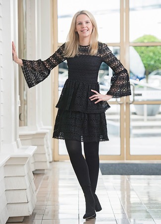 How to wear: black tights, black suede ankle boots, black lace skater dress