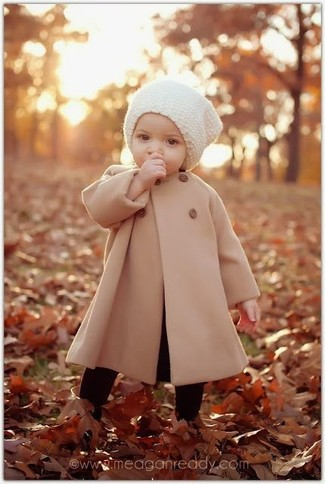How to wear: black tights, white beanie, tan coat