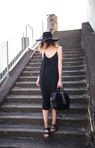 How to wear: black wool hat, black leather tote bag, black leather flat sandals, black cami dress