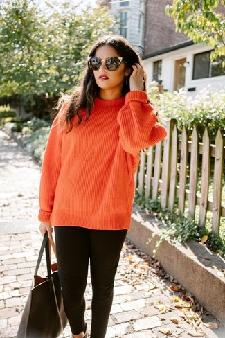 How to wear: black sunglasses, black leather tote bag, black leggings, orange knit cable sweater