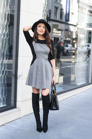 Womens Black Wool Hat Black Leather Tote Bag Black Suede