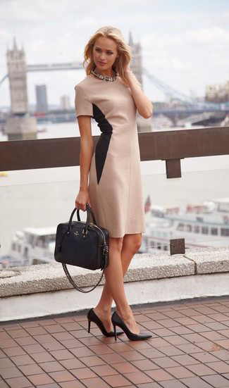 How to wear: clear necklace, black leather tote bag, black leather pumps, beige sheath dress