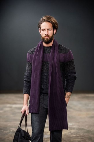 How to wear: purple knit scarf, black canvas tote bag, charcoal wool dress pants, charcoal cable sweater