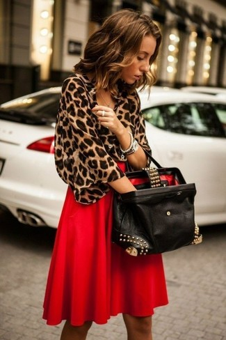 How to wear: silver watch, black embellished leather tote bag, red pleated midi skirt, brown leopard short sleeve blouse