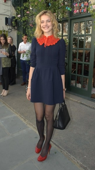 How to wear: black tights, black leather tote bag, red leather pumps, navy fit and flare dress