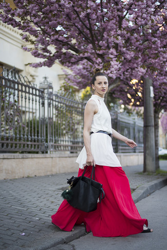 How to wear: black leather belt, black leather tote bag, red wide leg pants, white silk sleeveless top