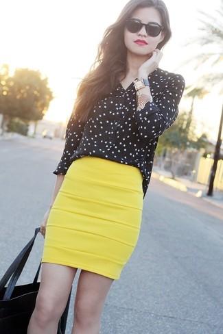 How to wear: black tote bag, yellow pencil skirt, black long sleeve t-shirt