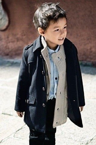 Boys' Black Trench Coat, Grey Cardigan, Light Blue Long Sleeve Shirt, Black Jeans