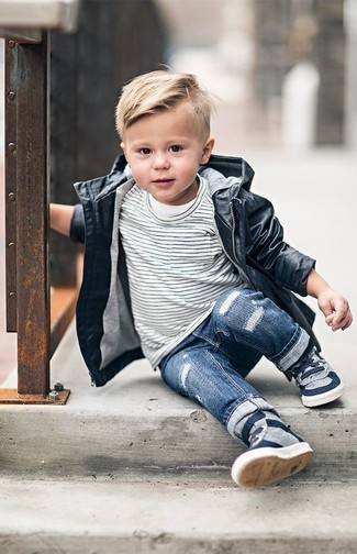 Boys' Black Trench Coat, White and Black Horizontal Striped T-shirt, Blue Jeans, Grey Sneakers