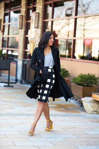 How to wear: black trenchcoat, grey silk tank, white and black check pencil skirt, yellow leather heeled sandals