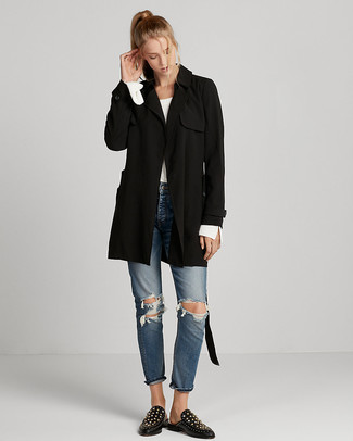 How to wear: black trenchcoat, white crew-neck sweater, blue ripped jeans, black studded leather loafers