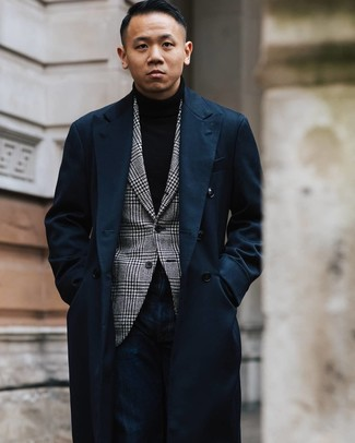How to wear: navy jeans, black turtleneck, white and black houndstooth blazer, navy overcoat