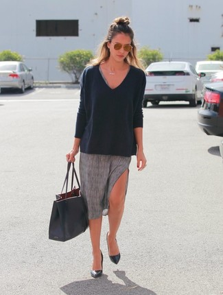 Jessica Alba wearing Black V-neck Sweater, Grey Casual Dress, Black Leather Pumps, Black Leather Tote Bag