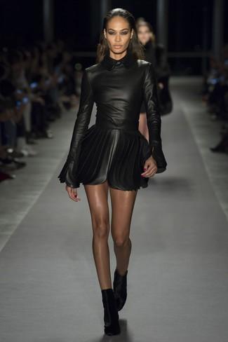 How to wear: black velvet ankle boots, black leather skater dress
