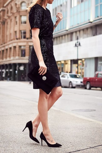 How to wear: black embellished velvet clutch, black suede pumps, black sequin sheath dress