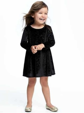 How to wear: black velvet dress, gold ballet flats