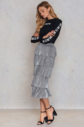 How to wear: black velvet heeled sandals, silver pleated midi skirt, black and white print long sleeve t-shirt
