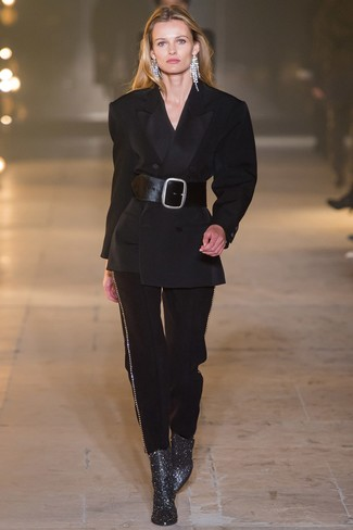 How to wear: clear earrings, black leather waist belt, silver leather ankle boots, black suit