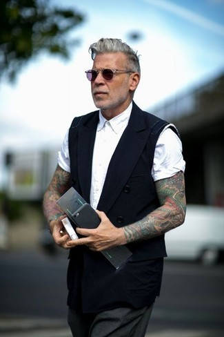 How to wear: black waistcoat, white short sleeve shirt, charcoal dress pants, violet sunglasses