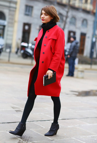 How to wear: black wool tights, black leather wedge ankle boots, black knit sweater dress, red coat