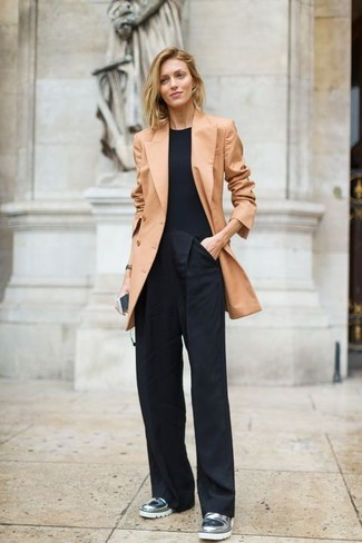 How to wear: silver leather loafers, black wide leg pants, black crew-neck t-shirt, tan double breasted blazer