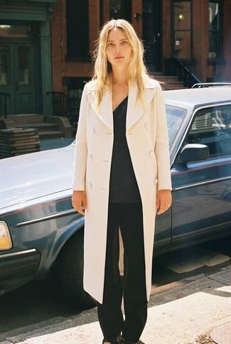 How to wear: black leather heeled sandals, black wide leg pants, charcoal v-neck sweater, beige coat