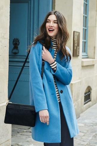 How to wear: black suede crossbody bag, black wide leg pants, white and black horizontal striped turtleneck, blue coat