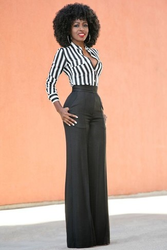 How to wear: black wide leg pants, white and black vertical striped dress shirt