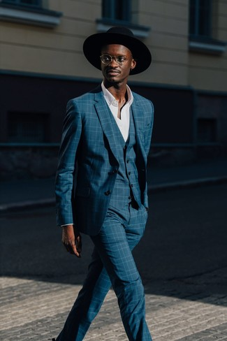 How to wear: black wool hat, white long sleeve shirt, teal plaid three piece suit