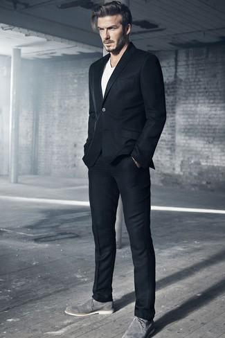 David Beckham wearing Black Wool Suit, White Crew-neck T-shirt, Grey Suede Derby Shoes