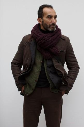 How to wear: black cotton blazer, dark brown wool blazer, olive knit cardigan, black turtleneck
