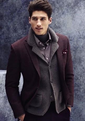 How to wear: burgundy wool blazer, charcoal knit blazer, charcoal turtleneck, black and white gingham long sleeve shirt