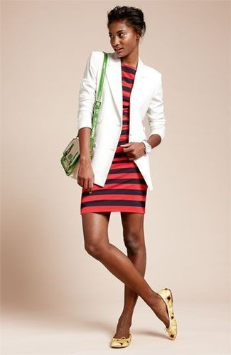 How to wear: white blazer, red horizontal striped bodycon dress, yellow leather ballerina shoes, green leather crossbody bag