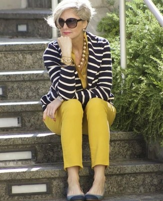 How to wear: navy and white horizontal striped blazer, mustard button down blouse, mustard skinny pants, grey suede ballerina shoes