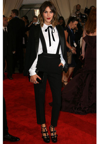 How to wear: black velvet blazer, white lace button down blouse, black tapered pants, black cutout leather pumps