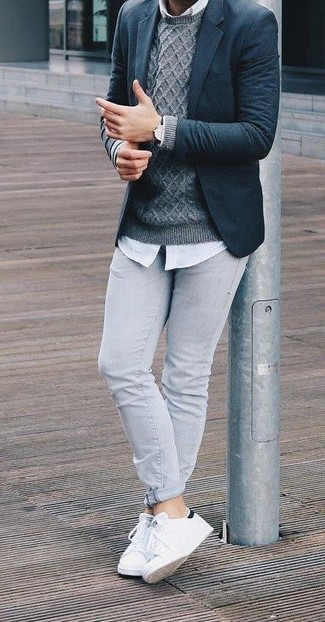 How to wear: navy wool blazer, grey cable sweater, white dress shirt, grey skinny jeans