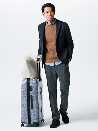 How to wear: navy wool blazer, tan cable sweater, light blue chambray long sleeve shirt, grey chinos