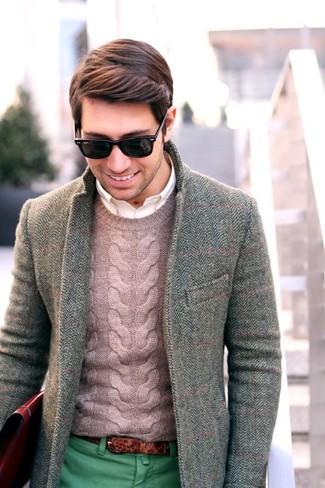 How to wear: grey herringbone wool blazer, pink cable sweater, white long sleeve shirt, green chinos