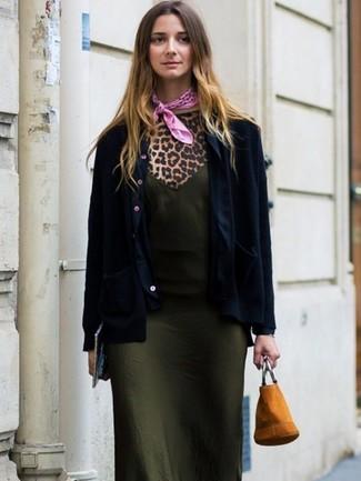 How to wear: navy blazer, olive silk cami dress, tan leopard crew-neck t-shirt, tan suede bucket bag