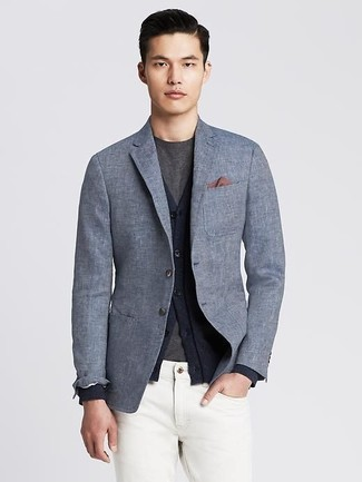 How to wear: grey linen blazer, navy cardigan, charcoal crew-neck t-shirt, white jeans