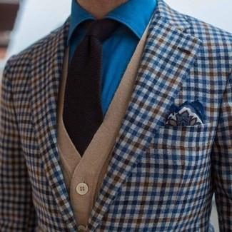 How to wear: blue gingham blazer, tan cardigan, blue denim shirt, black knit tie
